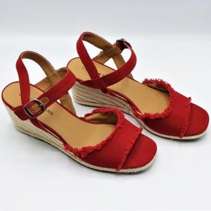 Lucky Brand Red Mindra Espadrille Wedge Sandal 10M
